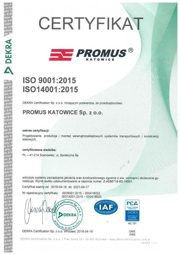Certyfikat ISO 9001:2015 ISO 14001:2015