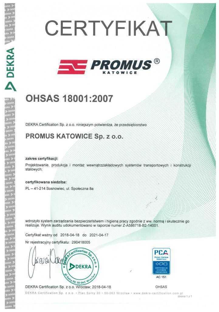 Certyfikat OHSAS 18001:2007
